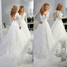 A-line white/ivory lace Wedding Dress long sleeve V neck Bridal Wedding Gown