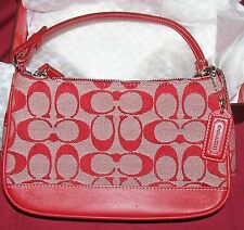 Coach Purse Signature Collection Bag Clutch Womens Red and White J1J-6084 Small