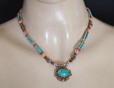 Sterling Silver Necklace Asian Good Faith jewelry Coral Turquoise Nepalese 20MA
