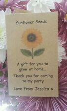 4 Personalised Sunflower Seeds Children's Party Bag Gift Treat Prize Kids