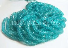 "6.5"" half strand aqua blue APATITE faceted gem stone rondelle beads 4.5mm - 5mm"