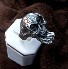 Laughing Gothic skull with rotting skulls in eye sockets, biker ring,Sterling