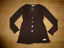 LADIES ODD MOLLY 166 BROWN V NECK BUTTON UP WOOL BLEND CARDIGAN - 2 (S/ M)