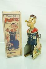VINTAGE MARX TIN WIND UP WALKING POPEYE W/ BIRD CAGE FIGURE LITHO W/ BOX