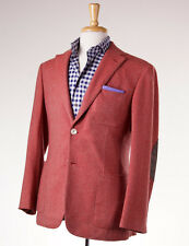 NWT $4495 D'AVENZA Red Twill 100% Cashmere Sport Coat 38 R Leather Elbow Patches
