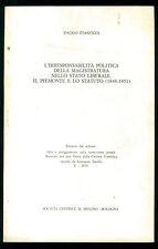PIASENZA L'IRRESPONSABILITA' POLITICA STATO LIBERALE PIEMONTE STATUTO MULINO