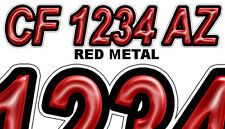 RED METAL Boat Registration Numbers or PWC Decals Stickers Graphics CF, NV AZ