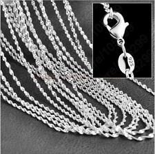 Cute 1pc Silver 2MM Shiny Water Wave Chain Necklace 20""