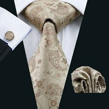 C-1152 Men's Silk Classic Tie Brown Accessories Sets Wedding Party Business New