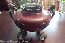 Chinese? incense burner metal red with dragon handles