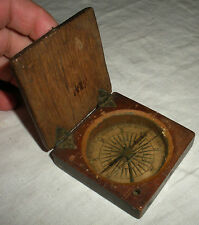ANTIQUE c 1760-1770 FRENCH INDIAN - REVOLUTIONARY WAR COMPASS WOOD CASE vafo