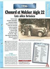 Chenard et  Walker Aigle  22  1936  France  Car Auto FICHE FRANCE