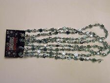 9 FOOT Turquoise & Silver Snowflake BEAD GARLAND CHRISTMAS ORNAMENTS DECORATION