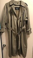 BURBERRYS Vtg Dbl Breasted Belted Rain Coat w/ Liner Womens 12 Petite Sage Green