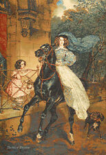 """31"""" WALL TAPESTRY Lady on Horse EUROPEAN DECOR - VICTORIAN ART PICTURE"""