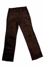 S.OLIVER LADIES FISHBONE BROWN WOOL TROUSERS SLOUCH RELAXED FIT W30 L35 UK12 FAB