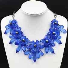 Statement Collier Halskette Luxus Chunky Kette Kristall Optik Blume Strass BLAU