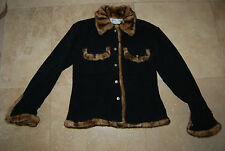 Black /Charcoal Gray Fleece TASHA POLIZZI Buttoned Faux Fur Trimmed Jacket Small