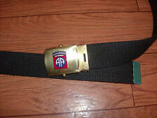 U.S MILITARY STYLE BLACK WEB BELT WITH 82nd AIRBORNE BRASS BUCKLE