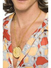 Gold 70's Medallion Necklace Hippy Chain Mens Ladies Fancy Dress
