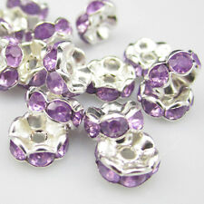 NEW for jewelry 100pcs Size 8MM Plated silver crystal spacer beads light purple