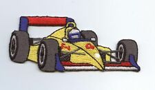 Iron On Embroidered Applique Patch Racecar Yellow Red Race Formula Car Racing