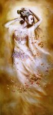 """Nice Oil painting Chinese beauty Dunhuang flying fairy with flowers canvas 36"""""""