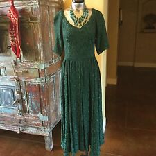 VINTAGE 1950s sz 6 special OCCASIONAL EMERALD GREEN DRESS, +necklace,bracelet