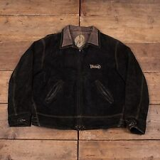 "Mens Vintage Diesel Leather Suede Quilt Lined Jacket Black XL 48"" R4647"