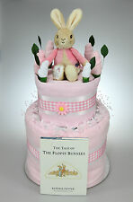 BABY GIRL TWO 2 TIER NAPPY CAKE WITH FLOPSY BUNNY TOY AND BOOK BABY SHOWER GIFT