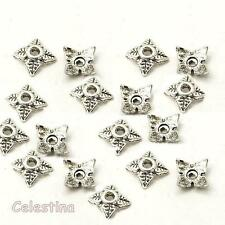 100 Tibetan Silver Tone Alloy 4 Leaf Bead Caps 6mm Jewellery Findings