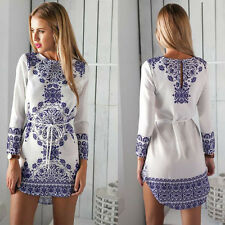 Summer Sexy Women Long Sleeve Party Dress Evening Cocktail Casual Mini Dress M