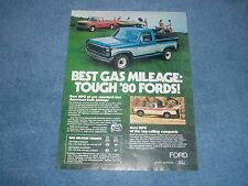 "1980 Ford Trucks Vintage Color Ad ""Best Gas Mileage: Tough '80 Fords!"" F-150"