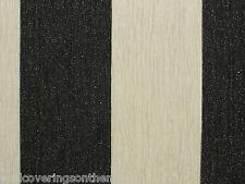 Black & Ivory With Silver Glitter Striped Wallpaper (13.33cm wide stripes)