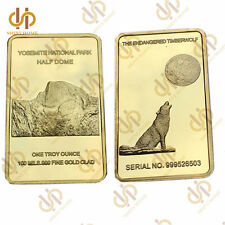 1 Troy Ounce Howling Wolf Yosemite National Park Half Dome 100 Mills Gold Bar