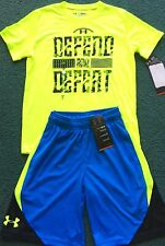 NWT Under Armour S Boys Neon Yellow/Light Blue DEFEND & DEFEAT Shorts Set YSM