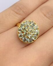 14k Solid Yellow Gold Cluster Round Ring, Natural Light Green Sapphire. Sz7.75