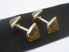 Antique Art Nouveau Deco era 14K Gold RGP Crystal Sugarloaf Cabochon Cufflinks