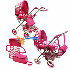 Deluxe 3 in 1 Dolls Pram Stroller Carry Cot Buggy Pushchair With Bag Girls Toy