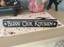 Primitive country farmhouse black bless our kitchen engraved  block sign picture
