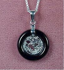 Sterling Silver - Black Onyx Dragon Necklace (NL283)