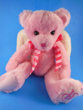 "Rare HTF Victoria's Secret 14"" Angel Teddy Bear Pink  w White Wings Soft Plush"
