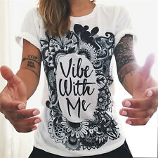 Vibe With Me! Print Punk Rock Fashion Graphic Tees Designer Clothing SZ S to XL