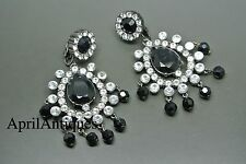 Vintage Rare 90s KJL Kenneth Jay Lane black glass chandelier earrings
