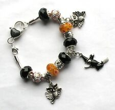 20cm Europea Halloween Zucca & Ciondolo GUFO Bracciale, BLACK & ORANGE Perline HK