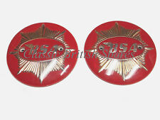 "BSA Red & Gold 4"" Round Tank Badge Set 65-8228R 65-8193R 350 500 DBD Goldstar"