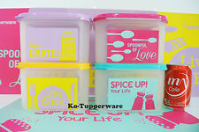 Limited Tupperware Wonderful life Set Modular mates square ll (4) 2.6L printed