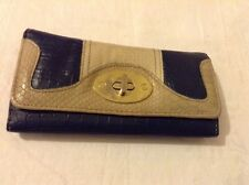 New Look navy and cream purse, moc croc pattern.