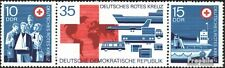 Germany DDR**RED CROSS-3stamps-Dreierstreifen-1972-Rode Kruis-Croix Rouge-MNH