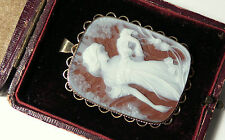 Antique Victorian Solid 9ct Hand Hardstone Cameo Vintage Pendant & fitted Case